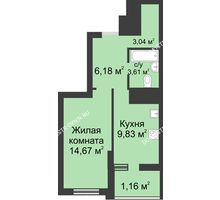 1 комнатная квартира 38,49 м² в ЖК Маленькая страна, дом № 3 - планировка
