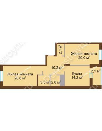 2 комнатная квартира 75,8 м² в ЖК Монолит, дом № 89, корп. 1, 2
