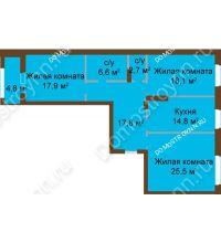 3 комнатная квартира 105,26 м², ЖК Классика - Модерн - планировка