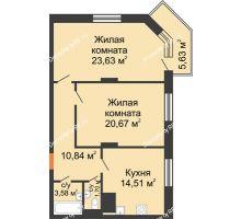 2 комнатная квартира 76,62 м², ЖД Камертон - планировка