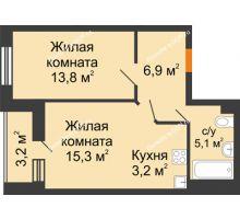 2 комнатная квартира 46,6 м² в ЖК Южный Берег, дом Литер 6 - планировка