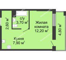 Студия 26,9 м², ЖК Сказка - планировка