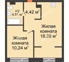 """2 комнатная квартира 37,45 м² в ЖК Европейский берег, дом ГП-9 """"Дом Монако"""" - планировка"""