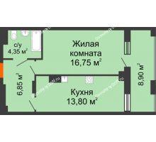 1 комнатная квартира 50,65 м² в ЖК Симфония, дом 3 этап - планировка