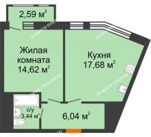 1 комнатная квартира 44,37 м² в ЖК Книги, дом № 1 - планировка