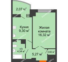 1 комнатная квартира 37,87 м² в ЖК Университетский 137, дом Секция С1 - планировка
