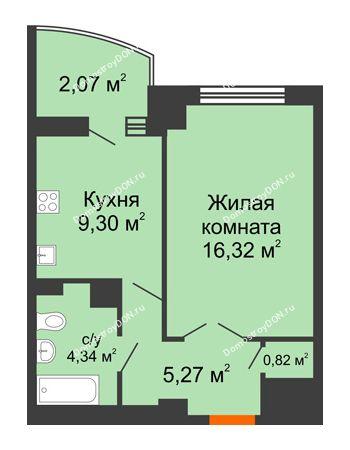 1 комнатная квартира 39,93 м² в ЖК Университетский 137, дом Секция С1