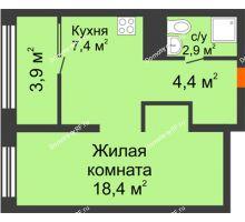 Студия 35 м² в Квартал Новин, дом 6 очередь ГП-6 - планировка
