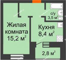 1 комнатная квартира 32,7 м² в ЖК Видный, дом № 2