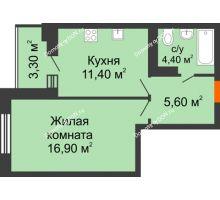 1 комнатная квартира 38,5 м² в ЖК Вересаево, дом Литер 5/1