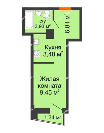 Студия 24,34 м² в ЖК Рубин, дом Литер 2
