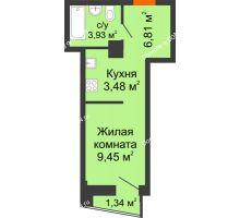 Студия 24,34 м² в ЖК Рубин, дом Литер 1 - планировка