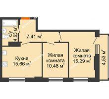 2 комнатная квартира 54,83 м², ЖК КМ Флагман - планировка