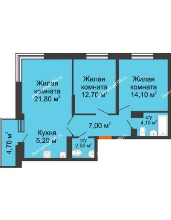 3 комнатная квартира 69,8 м² в ЖК Династия, дом Литер 2