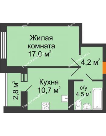 1 комнатная квартира 37,8 м² в ЖК Южный Берег, дом Литер 8