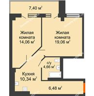 2 комнатная квартира 58,21 м², ЖК Кристалл 2 - планировка