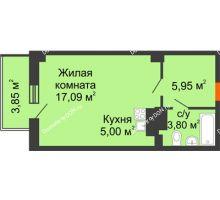 Студия 32,99 м² в ЖК Сокол на Оганова, дом Литер 4 - планировка
