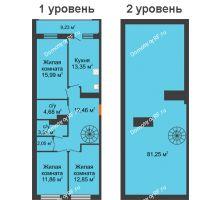 3 комнатная квартира 108,07 м², ЖК Русский Авангард - планировка
