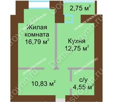 1 комнатная квартира 46,3 м² в ЖК Солнечный город, дом на участке № 214