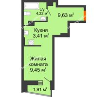 Студия 27,67 м² в ЖК Рубин, дом Литер 3 - планировка