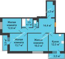 3 комнатная квартира 82,5 м² в ЖК Южный Берег, дом Литер 6 - планировка