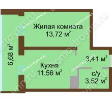 1 комнатная квартира 38,89 м² в ЖК Красная поляна, дом № 8