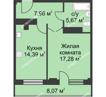 1 комнатная квартира 49,33 м² - ЖК На Ошарской