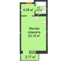 Студия 29,62 м² в OK Salut (Салют), дом ГП-6 - планировка