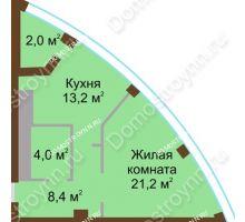 1 комнатная квартира 48,8 м² в ЖК Монолит, дом № 89, корп. 1, 2 - планировка