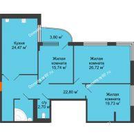 Студия 121,2 м², Жилой дом на ул. Платонова, 9,11 - планировка
