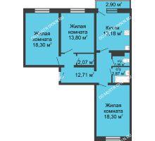 3 комнатная квартира 84,06 м² в ЖК Корабли, дом № 6 - планировка