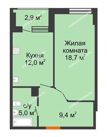 1 комнатная квартира 46,55 м² в ЖК Квартет, дом № 3