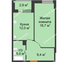 1 комнатная квартира 46,55 м² в ЖК Квартет, дом № 3 - планировка