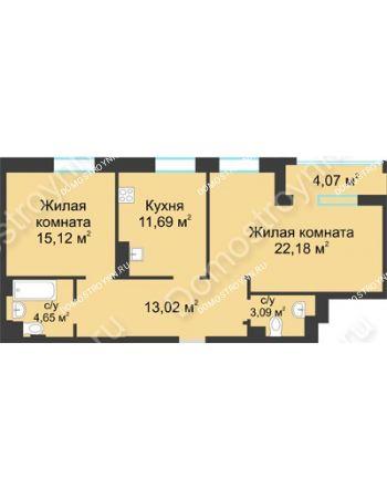 2 комнатная квартира 71,78 м² в ЖК Воскресенская слобода, дом №1
