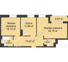 2 комнатная квартира 71,78 м² в ЖК Воскресенская слобода, дом №1 - планировка