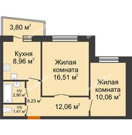 2 комнатная квартира 52,23 м² в ЖК DIVNYI , дом 1 очередь строительства, блок-секции 1,2,3 - планировка