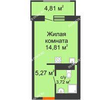 Студия 26,2 м², ЖК Командор - планировка