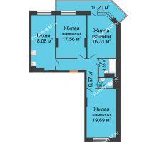 3 комнатная квартира 89,17 м², ЖД Камертон - планировка