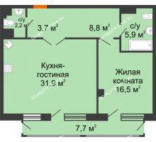 1 комнатная квартира 71,5 м² в ЖК Георгиевский, дом 6 - планировка
