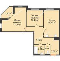 2 комнатная квартира 66,93 м² в ЖК Рассвет, дом №3 - планировка