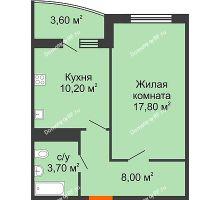 1 комнатная квартира 43,1 м² в ЖК Fresh (ЖК Фреш), дом Литер 2 - планировка
