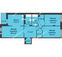 3 комнатная квартира 103,7 м² в Клубный дом Лобачевский, дом № 1 - планировка