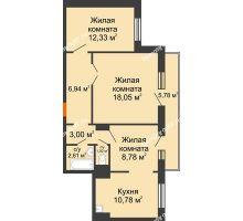 2 комнатная квартира 65,24 м² в ЖК Иннoкeнтьeвcкий, дом № 6 - планировка