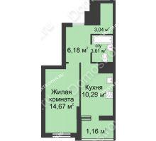 1 комнатная квартира 38,91 м² в ЖК Маленькая страна, дом № 1 - планировка