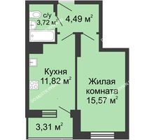 1 комнатная квартира 35,91 м² в ЖК Красная поляна, дом № 6