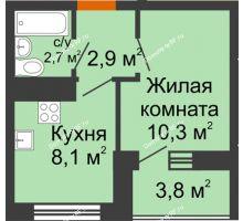 1 комнатная квартира 24 м² в ЖК Грани, дом Литер 5 - планировка