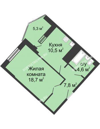 1 комнатная квартира 46,9 м² в ЖК Монолит, дом № 89, корп. 3