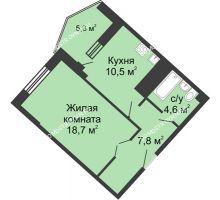 1 комнатная квартира 46,9 м² в ЖК Монолит, дом № 89, корп. 3 - планировка