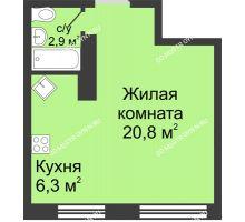 Студия 30 м² в ЖК Цветы, дом № 10 - планировка