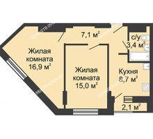 2 комнатная квартира 51,1 м², Жилой дом: ул. Сазанова, д. 15 - планировка